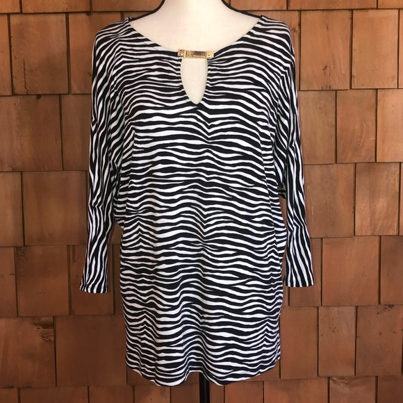 Michael Kors Tops - Michael Kors black & white zebra print blouse